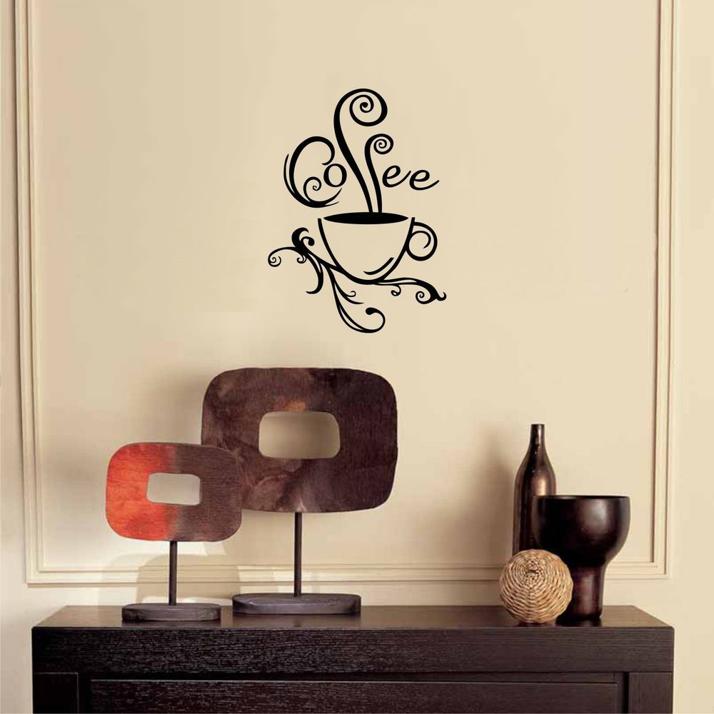 Coffee Cup Swirl Sticker Kitchen Wall Decal Sticker Art in Home ...