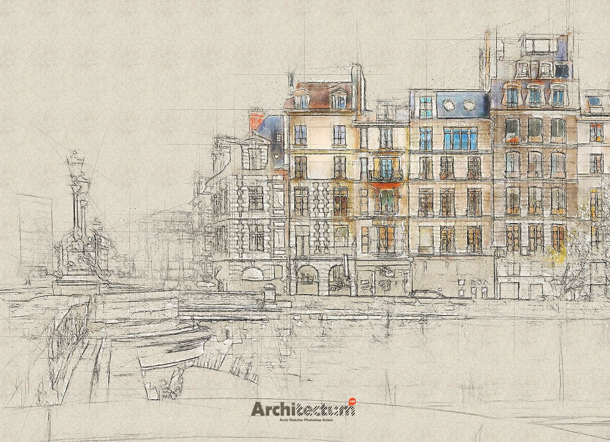 Architectum 3 Archi Sketcher Photoshop Action Best Photoshop