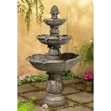 Traditionally Inspired, This Floor Fountain Features Three Tiers Of Flowing  Water And A Faux Stone Finish. High X Wide X Deep. Three Tier Fountain In A  Faux ...