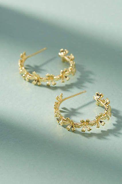 15bf6995b5e02 Anthropologie Chain of Flowers Hoop Earrings #ad | Earing | Jewelry ...