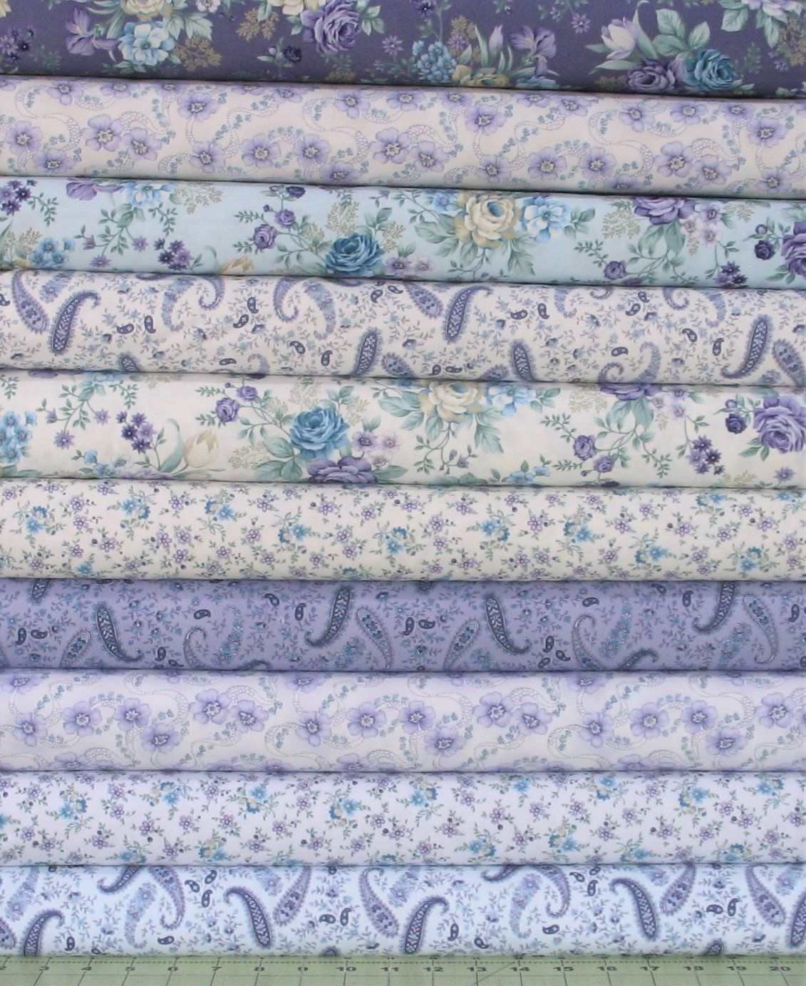 Ten Teal Purple Floral And Paisley Fabric Bundle Of Twilight