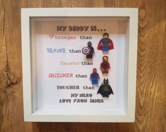 Personalised Superhero Lego Frame Daddy Brother Uncle Son Any Name Text 5 Figures As Seen Birthday Fathers Day