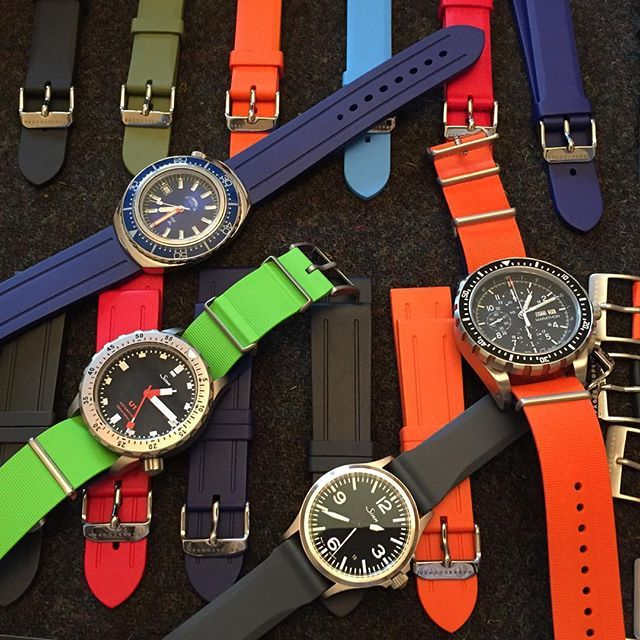 A plethora of colours. Our new Page and Cooper rubber straps are available with free world wide shipping. #watches #pageandcooper
