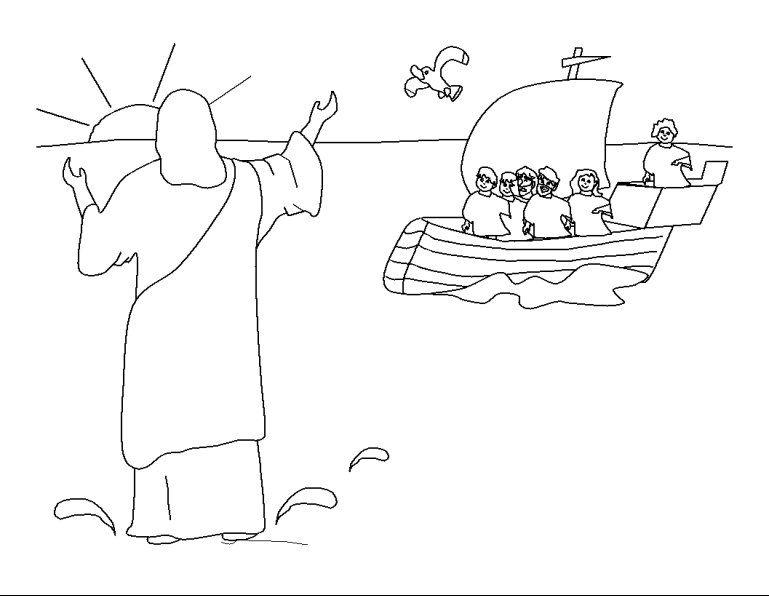 kleurplaten categorie apostelen jezus loopt het