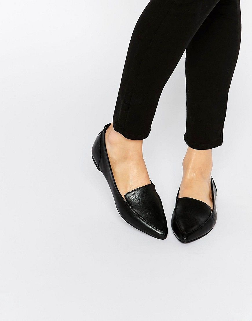 08cb016730 Image 1 of ALDO Bazovica Black Leather Flat Ballerina Shoes | Shoes ...