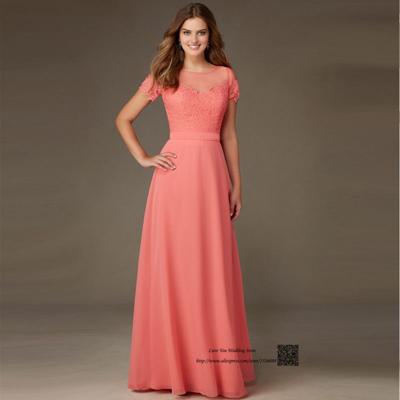 Coral colored bridesmaid dresses short sleeve lace wedding for Wedding guest dresses size 14