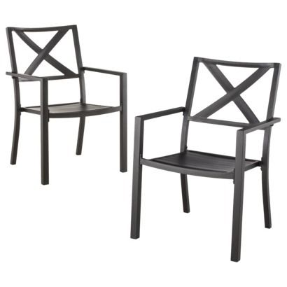 Threshold Afton 2 Piece Metal Patio Stacking Chair Set