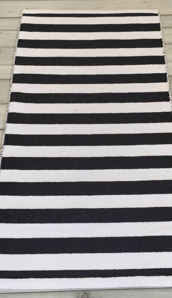Black And White Striped Rug Runner Scandinavian Nursery