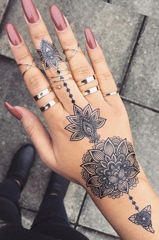 Aiyana Tribal Lotus Mandala Temporary Tattoo Hand Tattoos For Women Mandala Hand Tattoos Aztec Tattoo