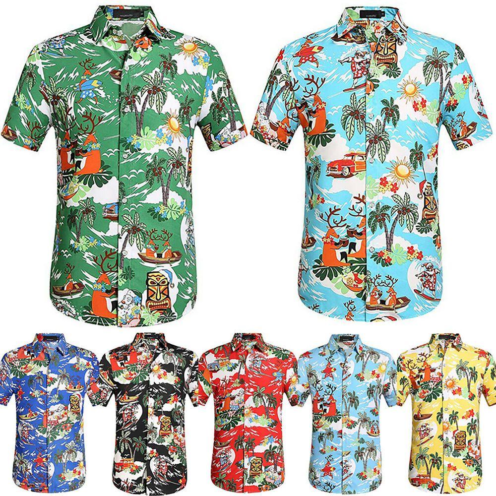 Hawaiian Mens Summer Floral T Shirts Short Sleeve Casual Tops Blouse Beach Party
