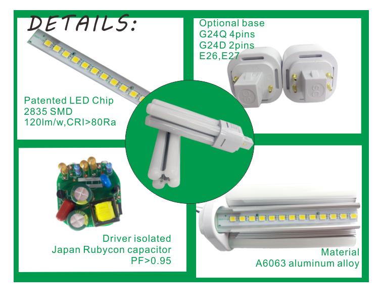 G24 Led Pl Tube Led Plug In Light Led Retrofits Led Indoors Lighting Compatible With Electronic Ballasts From 13 26w Cfl Led Aluminium Alloy Cfl