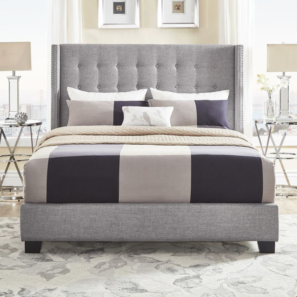 27 Things From Overstock To Make Your Home Look More Expensive Home In 2019 Wingback Bed Bed Upholstered Beds