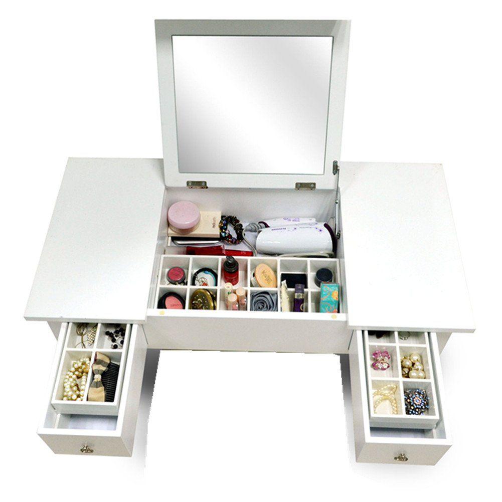 Amazoncom  Organizedlife Wooden Makeup Vanity Table