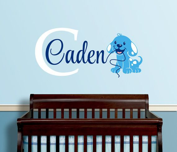 Dog Themed Personalized Name Wall Decal Custom Initial Wall - Personalized custom vinyl wall decals for nursery