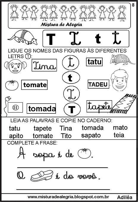Livro Das Familias Silabicas Letra T Imprimir Colorir Jpg 464 677