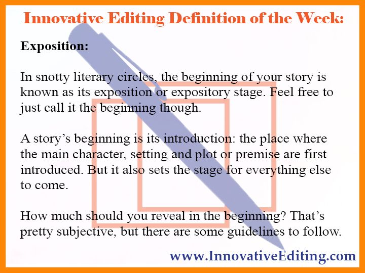 Creative Writing Definition: Exposition   The Beginning Of Your Story