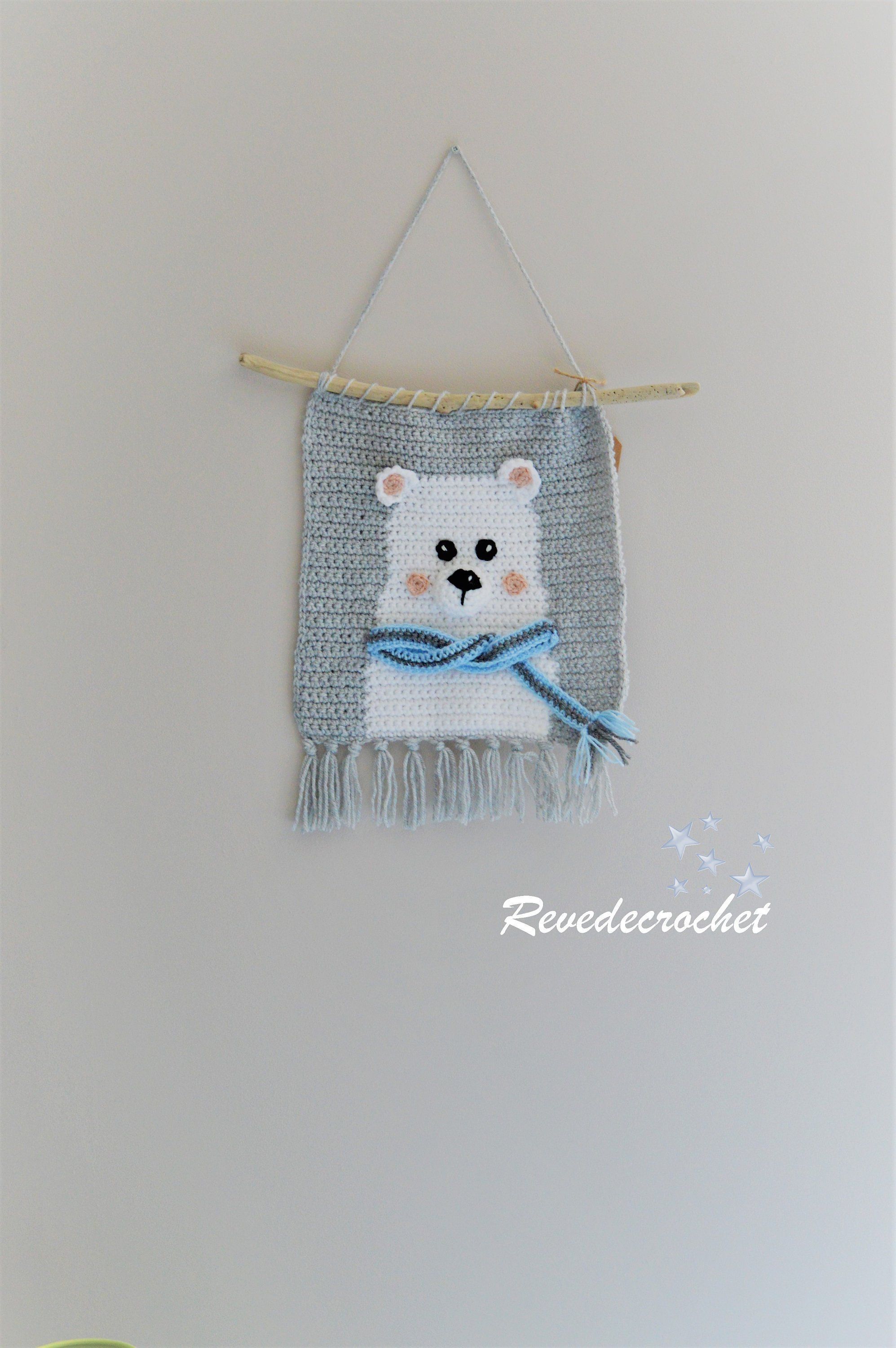 Baby wall hanging decoration theme ours deco chambre Tenture chambre bebe