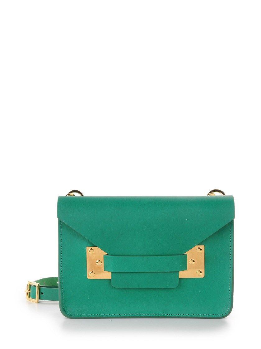 9f37335e82ba sophie hulme Green Leather Crossbody Bag Green