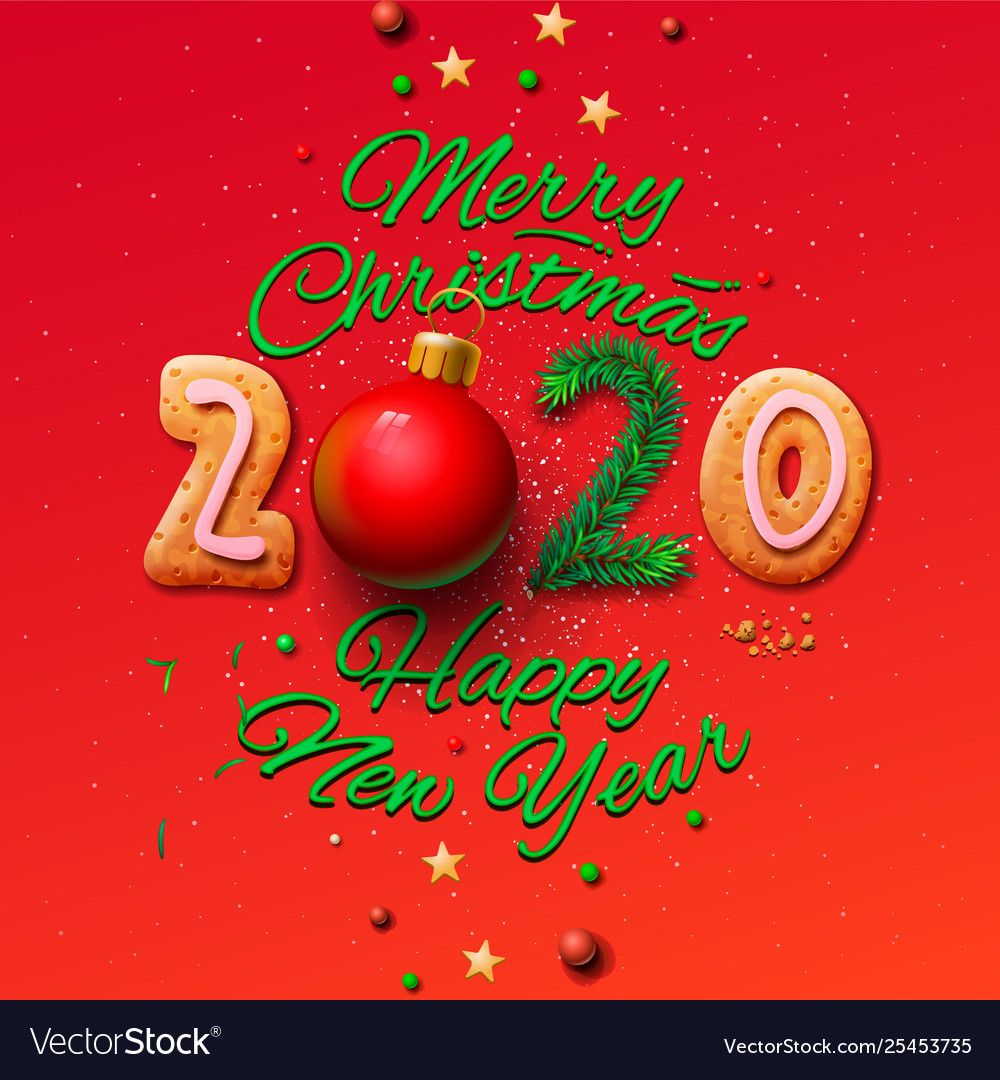 Merry christmas and happy new year 2020 greeting Vector