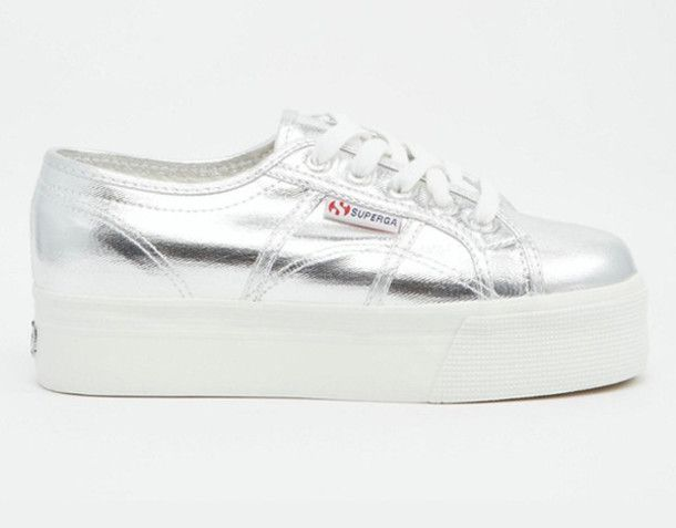 Shoes, Grunge shoes, Silver sneakers
