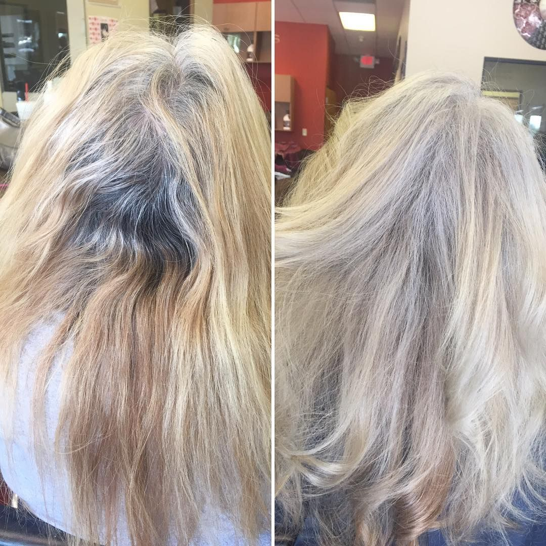 Final color correction from brown box dye to blended