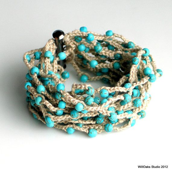 Beaded Crocheted Cuff, Wide Thick Cotton Bracelet in Linen with Turquoise Beads, Artist's Original Fiber Cuff, Vogue Crochet 2012