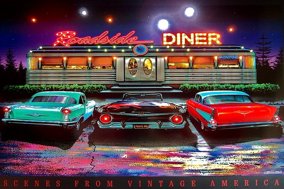 50 39 s diner background roadside diner artwork by