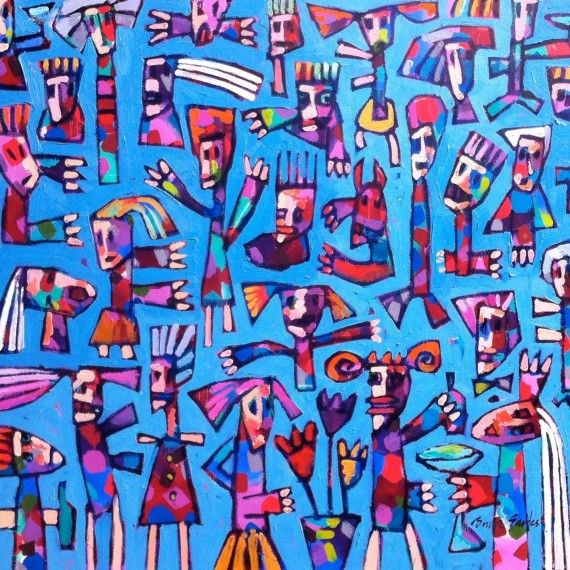"""""""Panic Party"""" 112cm x 117cm. For more information please contact REDSEA Gallery on (07) 3162 2230 © Bruce Earles"""
