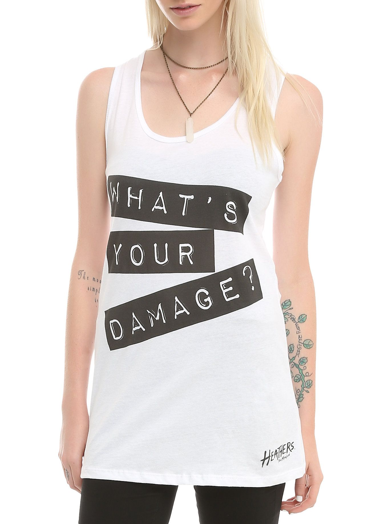 807e13538a65 Heathers  The Musical What s Your Damage Girls Tank Top