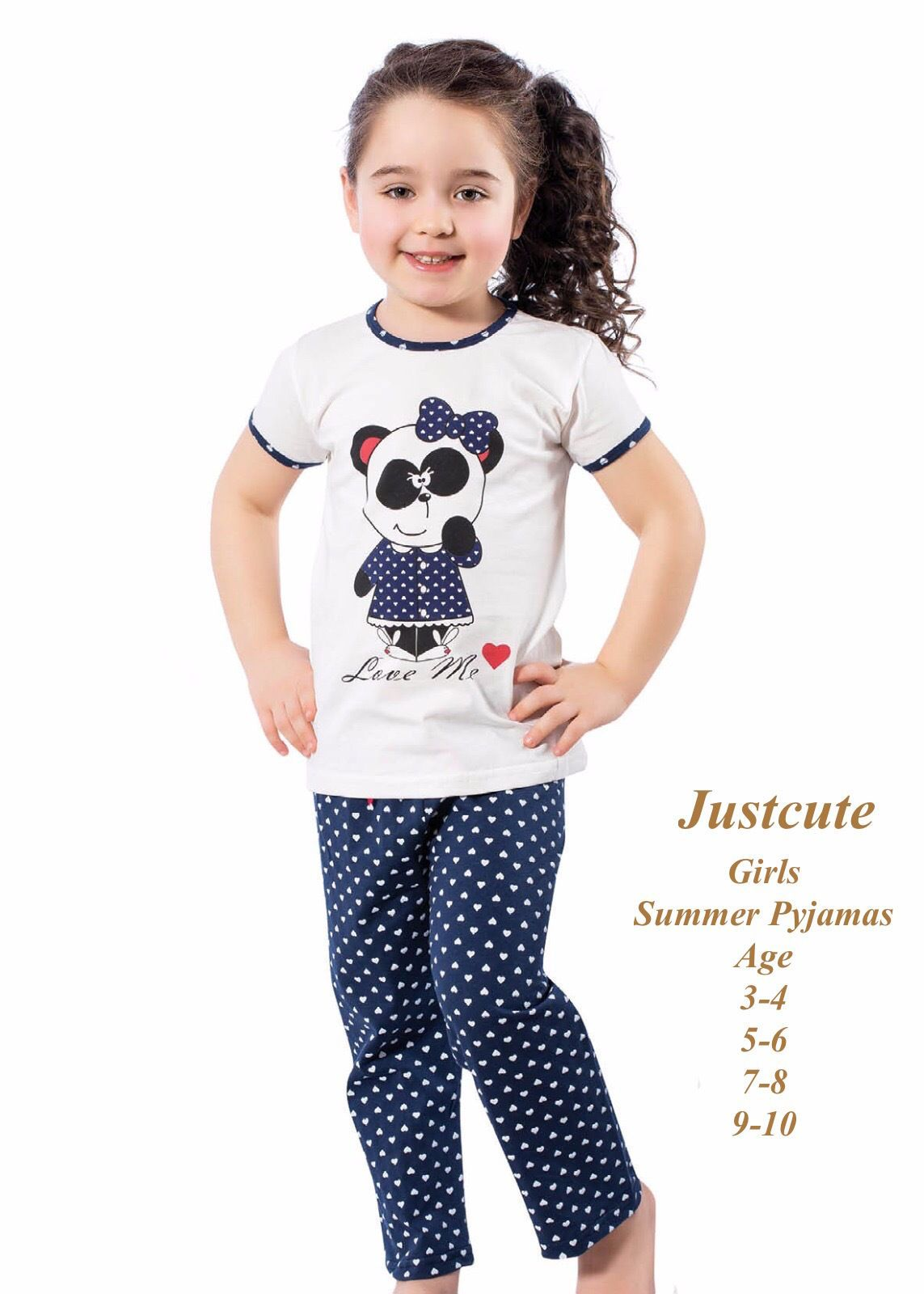 771d719c561 Girl s Summer Pyjamas Love Me Heart Bear 93% Cotton Pjs 3 To 10 Years