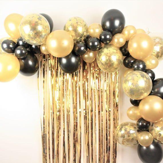 Black And Gold Balloon Garland Arch Decoration Kit Festa Preta E