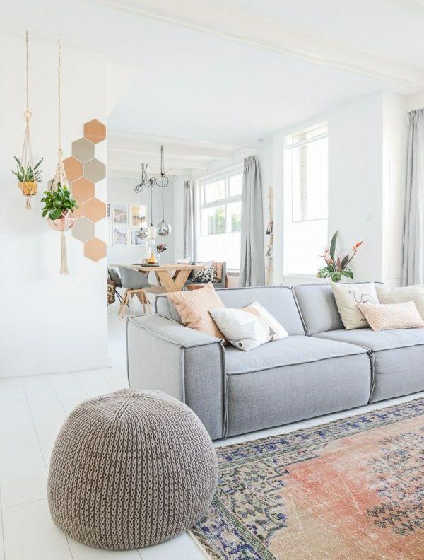 farbgestaltung wohnzimmer weiß grau wandgestaltung ideen ...