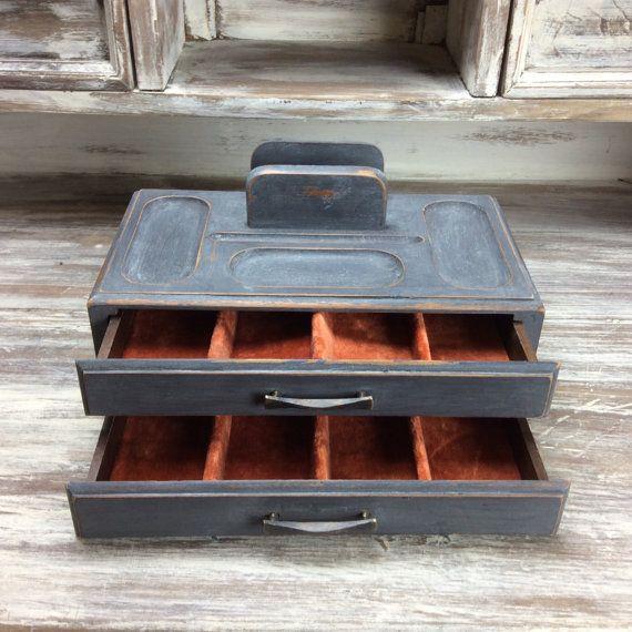 RUSTIC GENTLEMENS TRAY Vintage Valet Box Mens Trinket Box Black Valet Box Wood Desk Organize Gift For Him Velvet Lining & RUSTIC GENTLEMENS TRAY Vintage Valet Box Mens Trinket Box Black ... Aboutintivar.Com