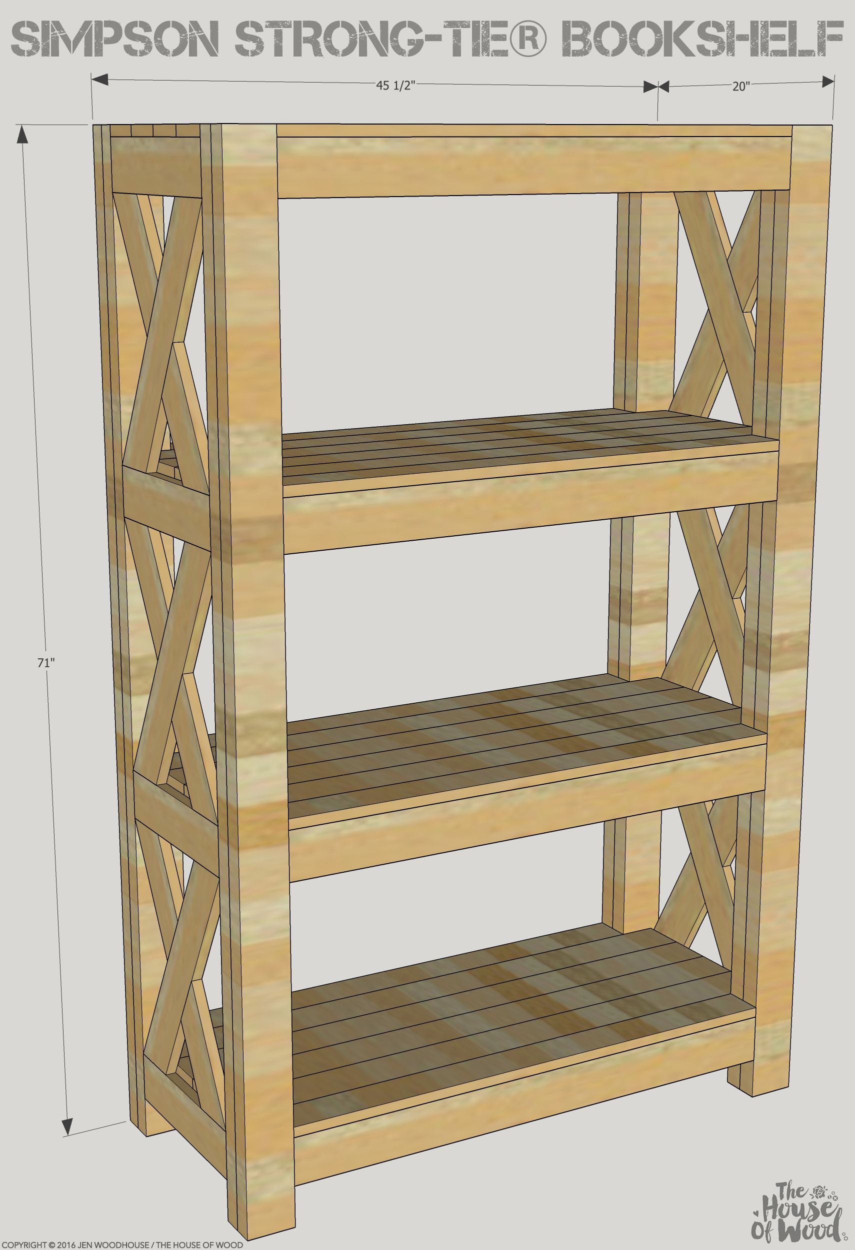 Diy Bookshelf With Simpson Strong Tie Free Woodworking Plans