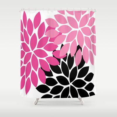 Bold Colorful Hot Pink Black Dahlia Flower Burst Petals Shower