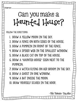 Haunted House (Halloween) Activity: Follow The Directions