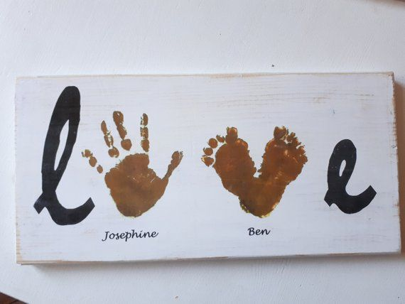 Personalized sign / picture of wood handprint love
