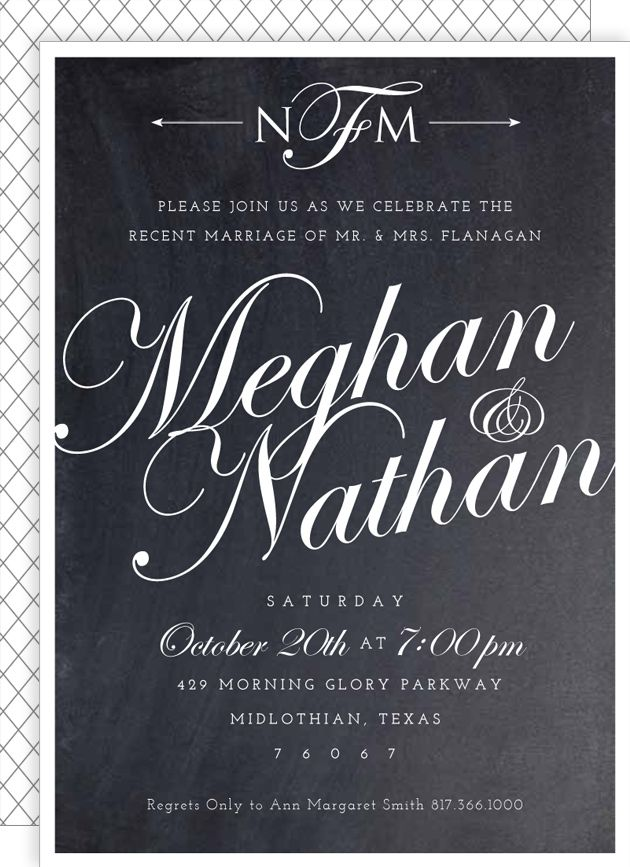 Post Wedding Reception Invite Chalkboard Script