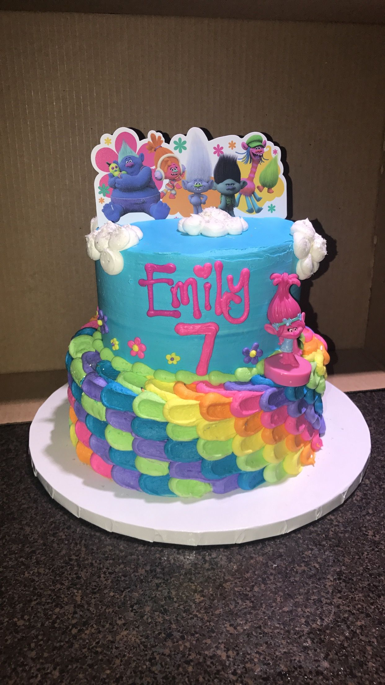 Hyvee Lincoln 1 Trolls two tiered cake Cakes Pinterest Birthdays