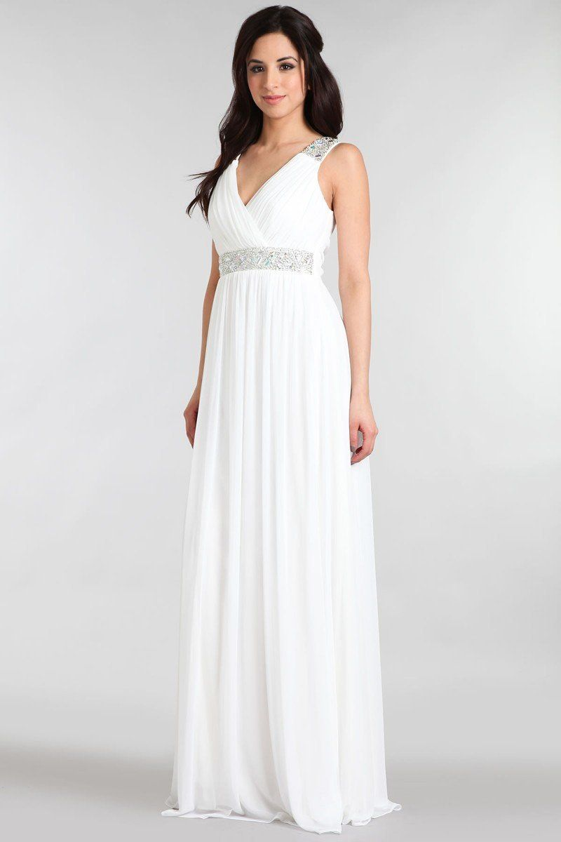 Ivory Grecian Gown with Beaded Waist | Grecian gown, Ivory and Gowns