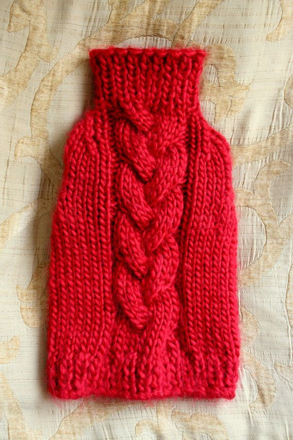 Red Dog Sweater, Puppy Sweater, Pet Clothing, Hand Knit Dog Clothes ...