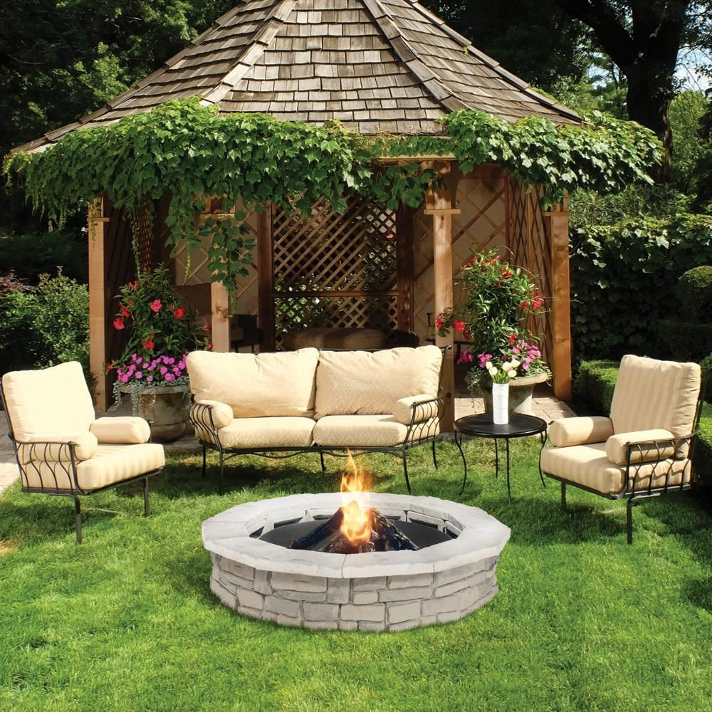 Photo of Natural Concrete Products Co 44 in. Random Stone Limestone Fire Pit Kit-RSFPL – The Home Depot