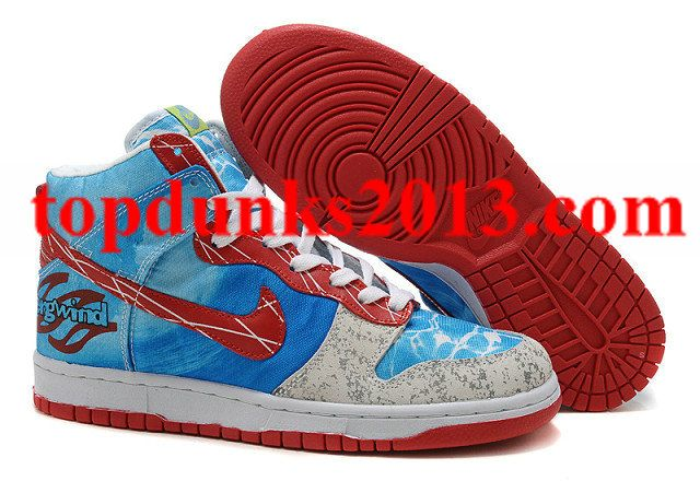 buy online c7a46 46a0f Bergwind Custom Blue Red Grey Nike Dunk High Top Men Guaranteed High Shoes,  Top Shoes