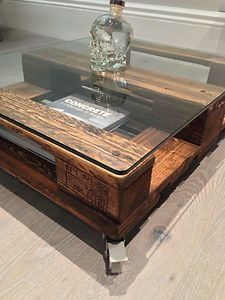 Pallet Coffee Table Glass Top diy bolted glass top table | interiors | pinterest | interiors