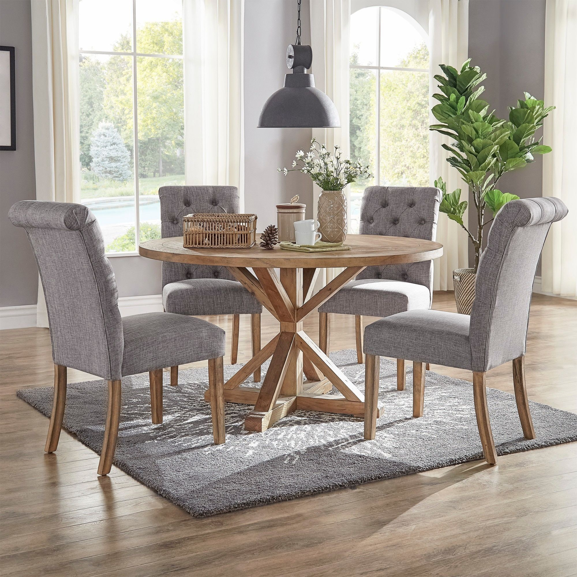 Benchwright rustic x base 48 inch round dining table set by signal benchwright rustic x base 48 inch round dining table set by signal hills geotapseo Choice Image