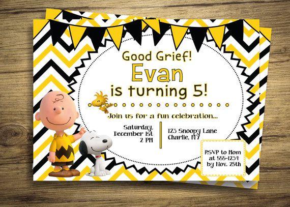 Charlie Brown & Snoopy Birthday Party Invitation - Peanuts Movie ...