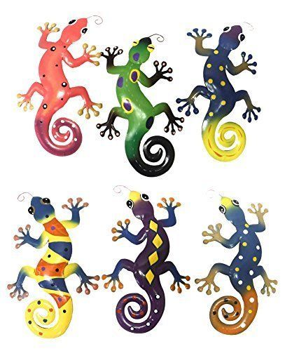 6 Pack Metal Lizard Wall Decor Hanging Art Lizards Outdoor Gecko