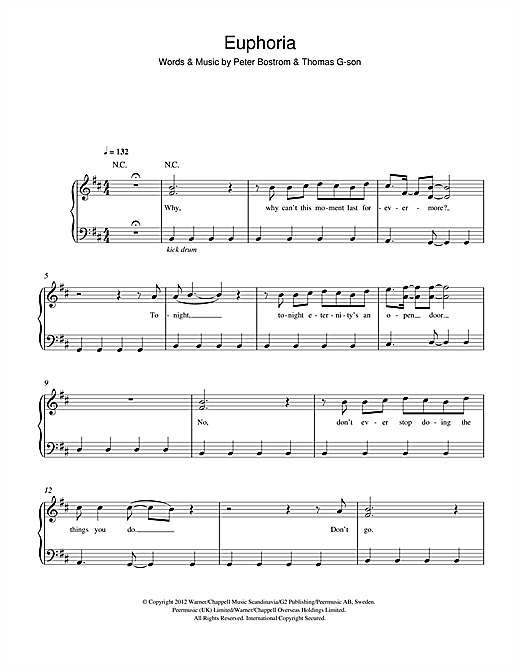 Loreen 'Euphoria' Sheet Music, Notes & Chords | Sheet Music