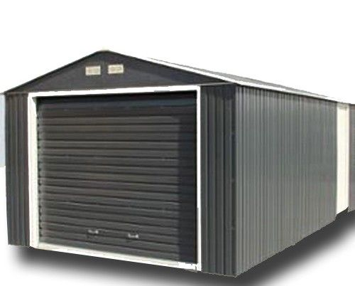 Best Olympian Anthracite 12X26 Apex Roof Metal Garage Metal 640 x 480