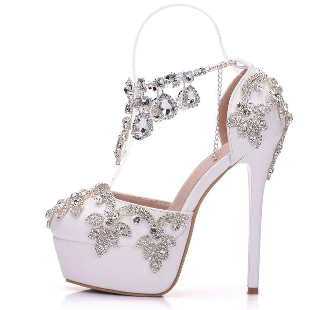 5c3961a8393 Rhinestone Sandals Pumps Shoes Women Sweet Luxury Platform Wedges Shoes  Wedding High Heels